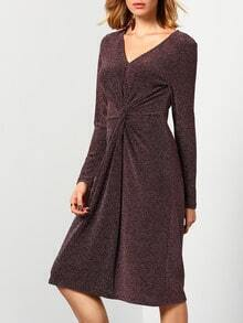 Grey Long Sleeve V Neck Knotted Dress