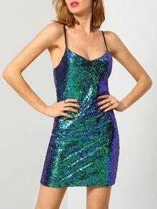 Green Spaghetti Strap Sequined Dress