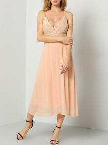 Pink Spaghetti Strap With Lace Dress