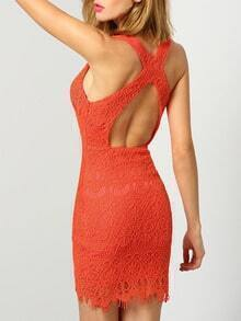 Orange Sleeveless Deep V Neck Lace Bodycon Dress