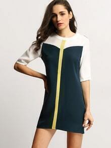 White Blue Round Neck Color Block Dress
