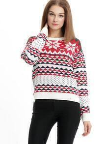 Multicolor Long Sleeve Snowflake Print Sweater