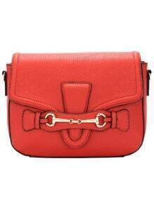 Red Metal Embellished PU Satchel Bag