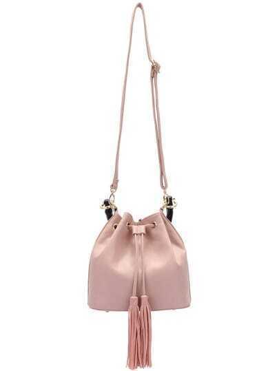 Pink Drawstring Tassel PU Shoulder Bag