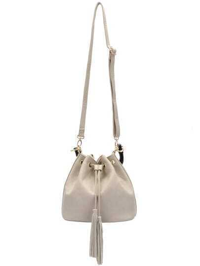 White Drawstring Tassel PU Shoulder Bag