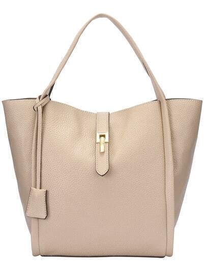 Beige Two Pieces PU Tote Bag