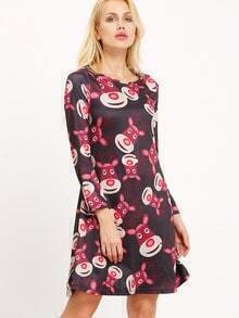 Black Long Sleeve Christmas Deer Print Shift Dress