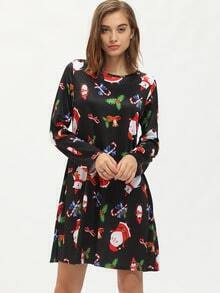 Black Santa Claus Print Tshirt Dress