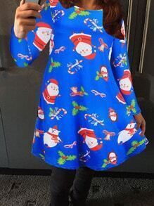 Blue Santa Claus Print Tshirt Dress