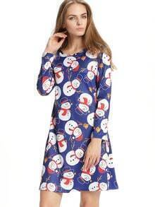 Blue Christmas Snowman Print Shift Dress