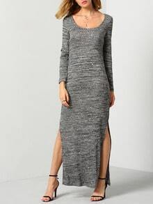Grey Long Sleeve Split Maxi Dress