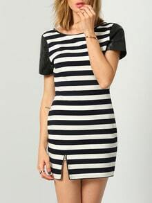 Black White Short Sleeve Striped Dress