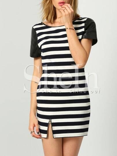 Black White Short Sleeve Striped Dress