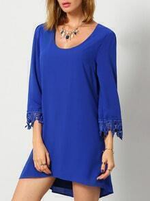 Blue Scoop Neck With Lace Dress