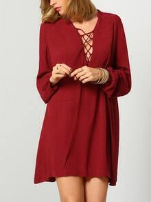 Red Long Sleeve Lace Up Dress