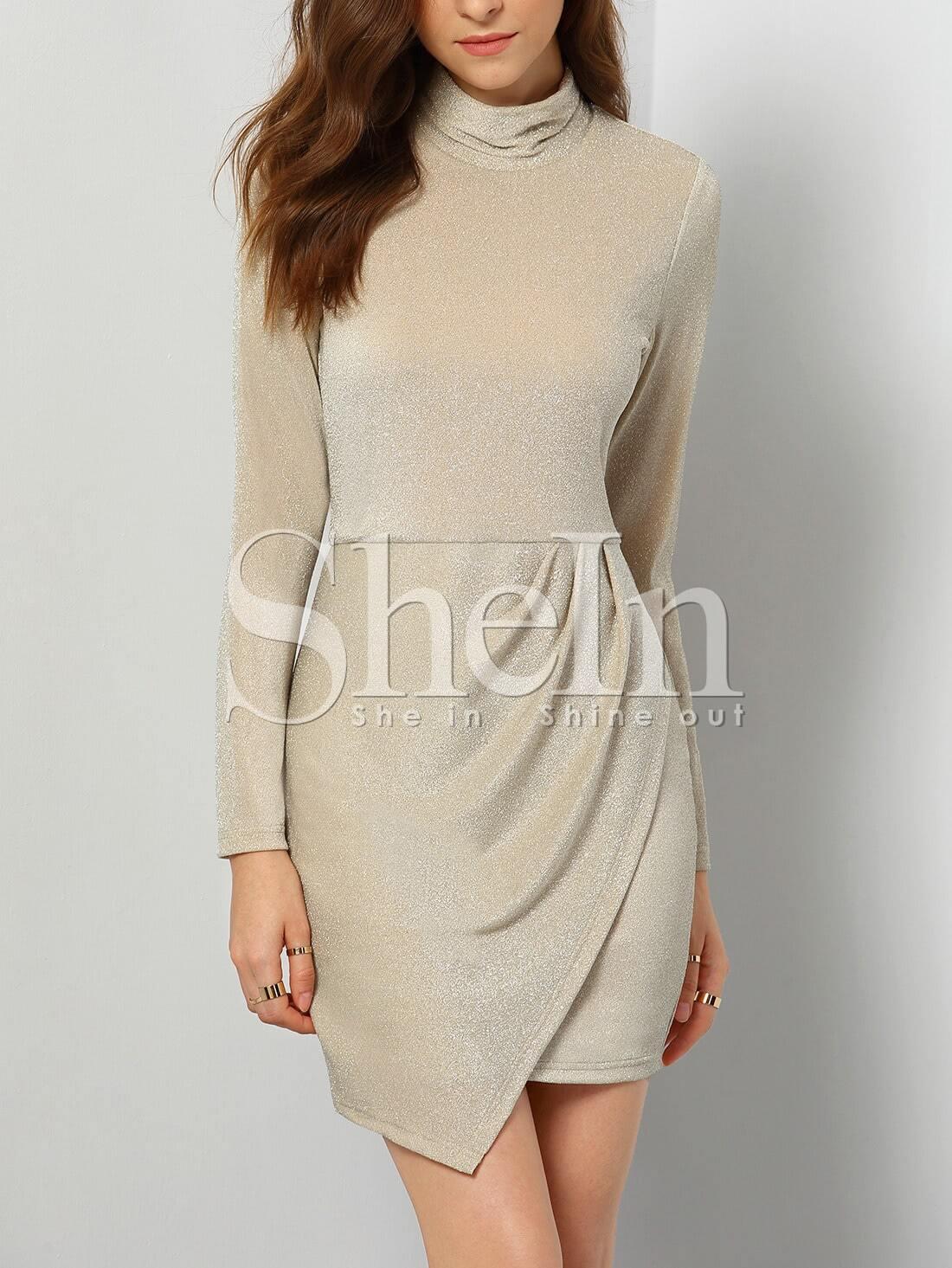 High Neck Long Sleeve Bodycon Asymmetric Dress