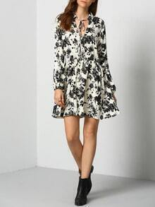Multicolor Long Sleeve Lace Up Vintage Print Dress