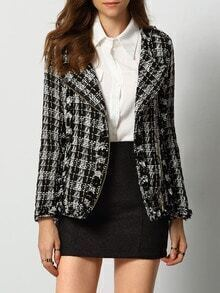 Black Grey Long Sleeve Plaid Coat