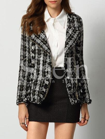 Black Grey Long Sleeve Plaid Blazer