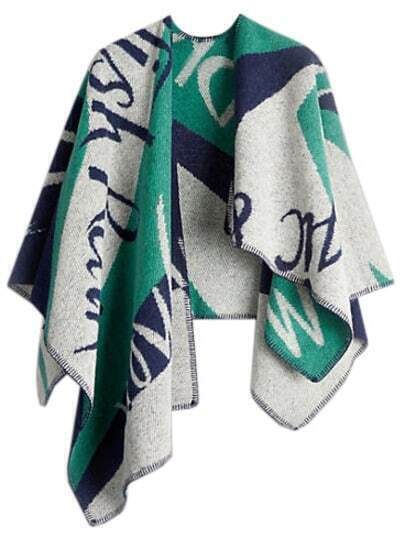 Women Green Letter Plaid Oversized Cape Scarf