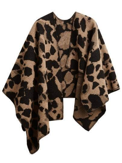 Women Leopard Plaid Oversized Cape Scarf