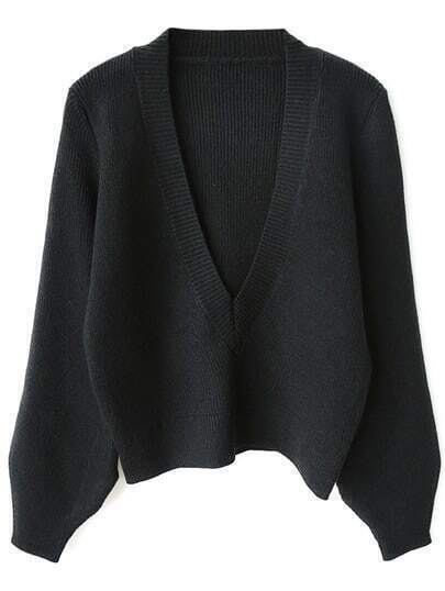 Black Lantern Sleeve Plunge Ribbed Jumper