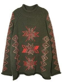 Green Christmas Snowflake Embroidered Sweater