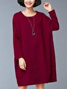 Burgundy Pocket Oversized Thicken Dress