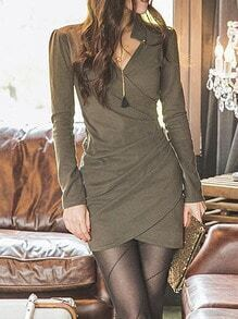 Army Green V Neck Wrapped Dress