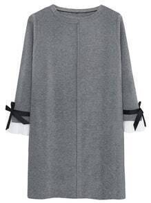 Grey Bell Sleeve Bow Decorated Dress