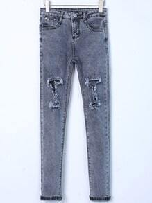 Grey Distressed Slim Leg Jeans
