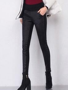 Black Elastic Waist Quilted Down Pants