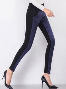 Navy Blue Elastic Waist Quilted Down Pants