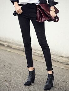 Black Thicken Slim Leg Jeans