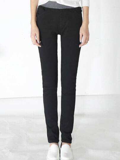 Black Elastic Waist Thicken Jeans