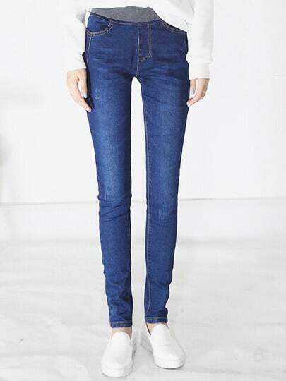 Blue Elastic Waist Thicken Jeans