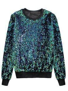 Women Green Sequined Loose Sweatshirt