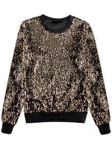 Women Gold Sequined Loose Sweatshirt