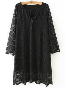Black Round Neck Lace Slim Dress