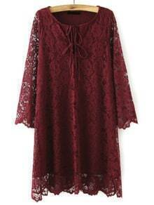 Burgundy Round Neck Lace Slim Dress
