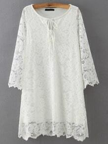 White Round Neck Lace Slim Dress