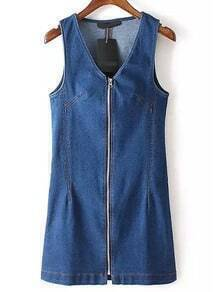 Blue V Neck Sleeveless Zipper Denim Dress