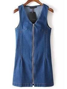 Blue V Neck Sleeveless Zipper Denim Dress