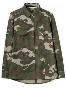 Green Lapel Camouflage Print Rhinestone Blouse