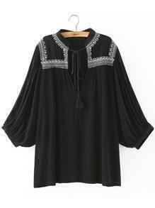 Black Stand Collar Embroidered Loose Blouse