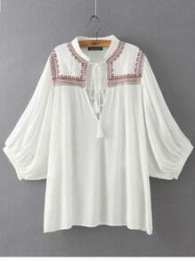 White Stand Collar Embroidered Loose Blouse