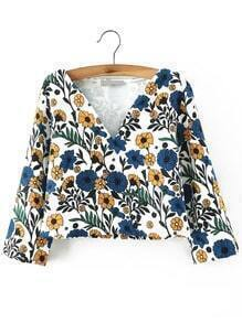Colour V Neck Floral Crop Top