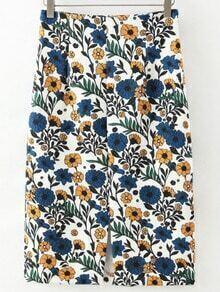 Colour Floral Split Skirt