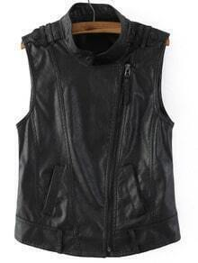 Black Oblique Zipper Epaulet PU Vest
