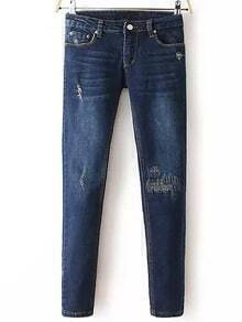 Navy Slim Ripped Denim Pant
